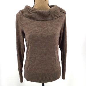 ANN TAYLOR Brown Split Cowl Neck Sweater L Wool